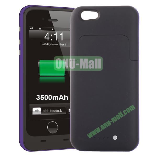 3500mAh Mophie Style External Power Bank Charger Pack Backup Battery Case for iPhone 6 4.7 (Without Mophie logo) (Purple)