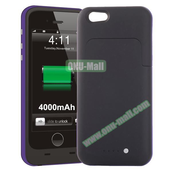 4000mAh Mophie Style External Power Bank Charger Pack Backup Battery Case for iPhone 6 Plus (Without Mophie logo) (Purple)