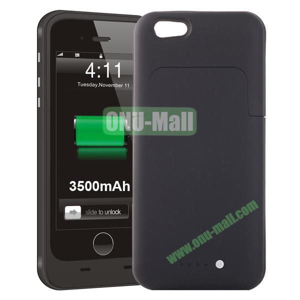 3500mAh Mophie Style External Power Bank Charger Pack Backup Battery Case for iPhone 6 4.7 (Without Mophie logo) (Black)