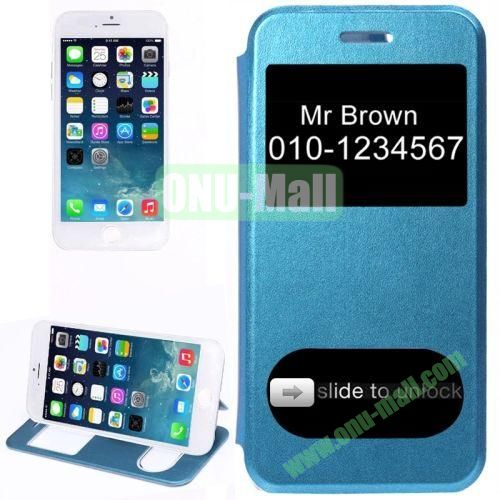 Frosted Texture Flip Leather Case with Caller Display ID Display Window for iPhone 6 Plus (Dark Blue)
