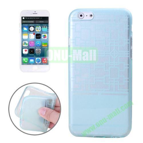 Frame Structure Pattern Soft TPU Case for iPhone 6 Plus (Light Blue)