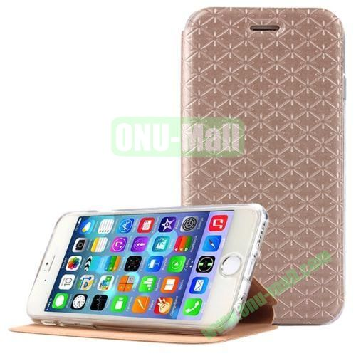 Diamond Pattern Flip Stand Leather Case for iPhone 6 Plus (Gold)