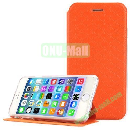 Diamond Pattern Flip Stand Leather Case for iPhone 6 Plus (Orange)