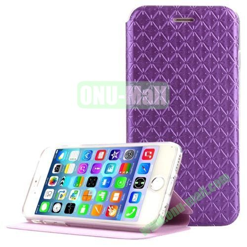 Diamond Pattern Flip Stand Leather Case for iPhone 6 4.7 Inch (Purple)