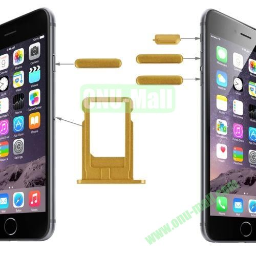 Card Tray & Volume Control Key & Screen Lock Key & Mute Switch Vibrator Key Replacement Kit for iPhone 6 Plus (Gold)