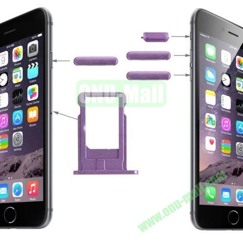 Card Tray & Volume Control Key & Screen Lock Key & Mute Switch Vibrator Key Replacement Kit for iPhone 6 Plus 5.5 (Light Purple)