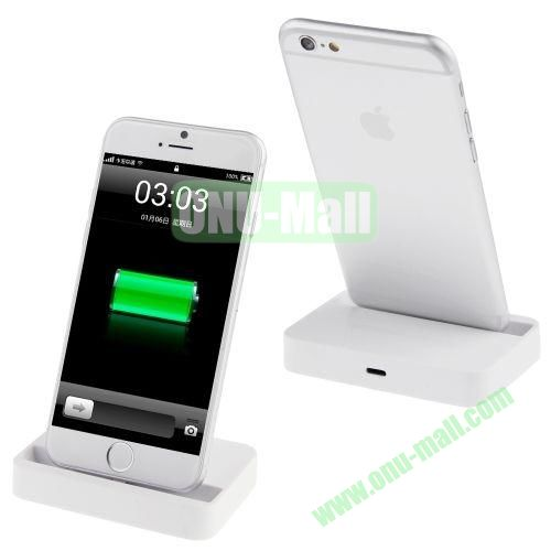 Stand 8 Pin Dock Charger for iPhone 6 4.7  iPhone 6 Plus (White)