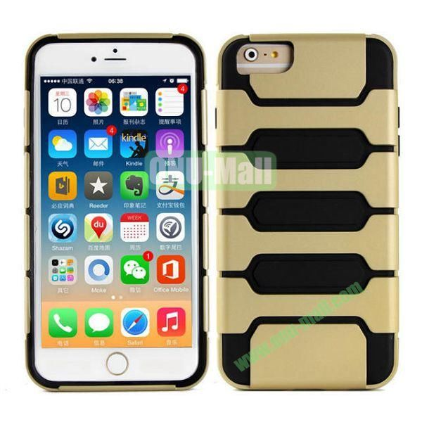 Hot Sale Slim Fit Dual Layer Hybrid TPU and PC Case for iPhone 6 Plus (Champagne Gold+Black)