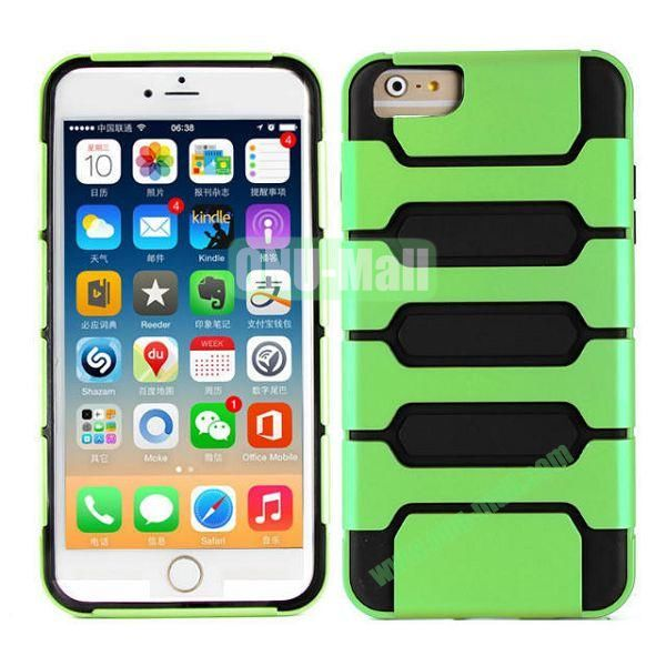 Hot Sale Slim Fit Dual Layer Hybrid TPU and PC Case for iPhone 6 Plus (Green+Black)