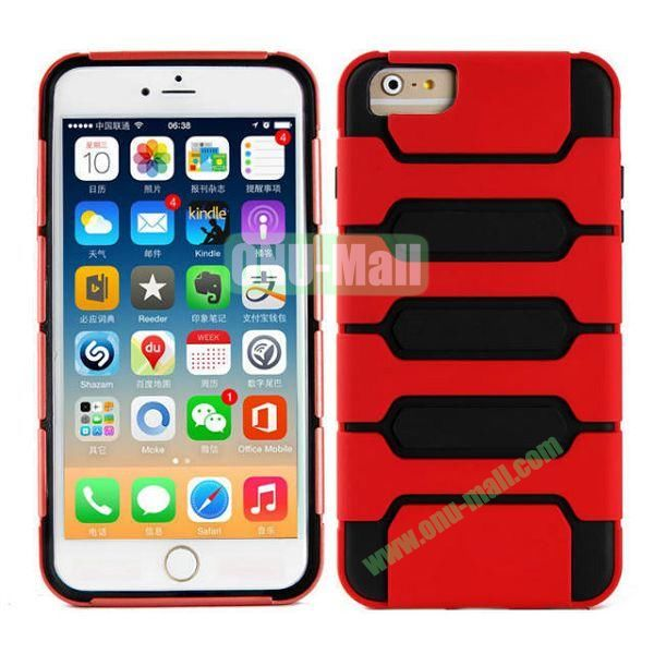 Hot Sale Slim Fit Dual Layer Hybrid TPU and PC Case for iPhone 6 Plus (Red+Black)