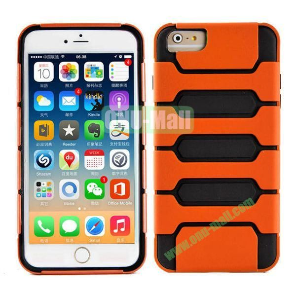 Hot Sale Slim Fit Dual Layer Hybrid TPU and PC Case for iPhone 6 4.7 Inch (Orange+Black)