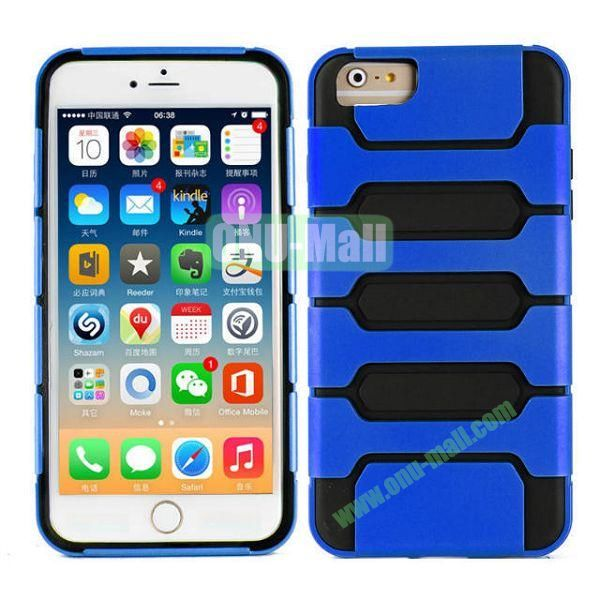 Hot Sale Slim Fit Dual Layer Hybrid TPU and PC Case for iPhone 6 Plus (Dark Blue+Black)