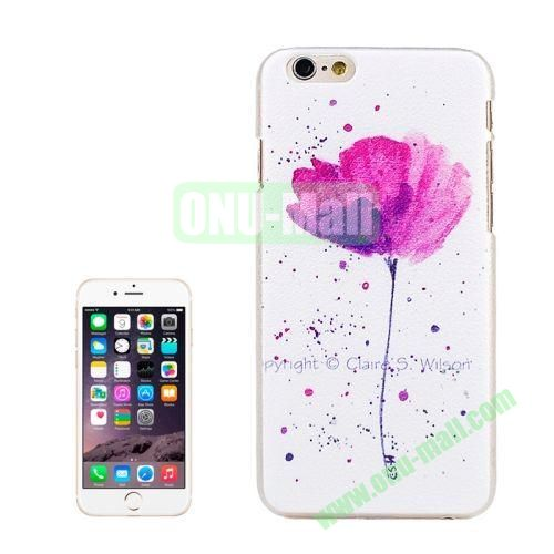 Lichee Texture Embossment Style Plastic Case for iPhone 6 4.7 inch (Ink Painting Flower)