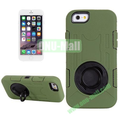 Shockproof Silicone + Hard Plastic Hybrid Case for iPhone 6 Plus (Dark Green)
