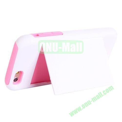 New Arrival 2 in 1 Pattern Hybrid Silicone and PC Case for iPhone 6 Plus with Card Slots and Holder (Pink+White)