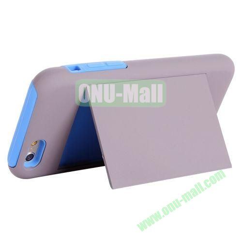 New Arrival 2 in 1 Pattern Hybrid Silicone and PC Case for iPhone 6 4.7 Inch with Card Slots and Holder (Grey+Blue)
