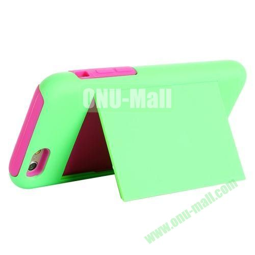 New Arrival 2 in 1 Pattern Hybrid Silicone and PC Case for iPhone 6 4.7 Inch with Card Slots and Holder (Green+Rose)