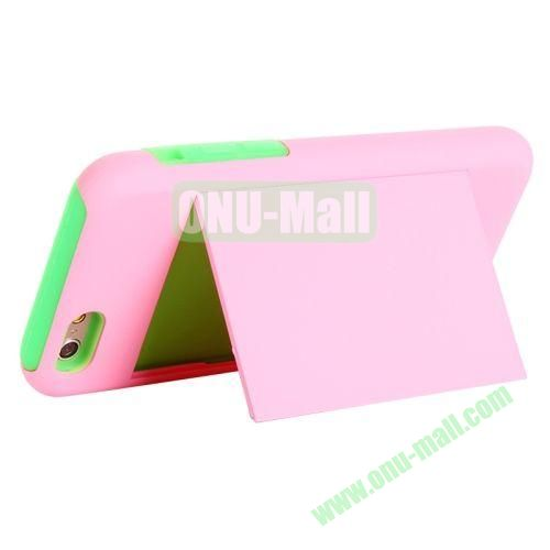 New Arrival 2 in 1 Pattern Hybrid Silicone and PC Case for iPhone 6 Plus with Card Slots and Holder (Pink+Green)