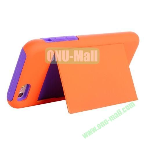 New Arrival 2 in 1 Pattern Hybrid Silicone and PC Case for iPhone 6 4.7 Inch with Card Slots and Holder (Orange+Purple)