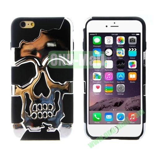 Hot Sale Skeleton Design 2 in 1 Pattern Hybrid Silicone and PC Case for iPhone 6 Plus (Silver+Black)