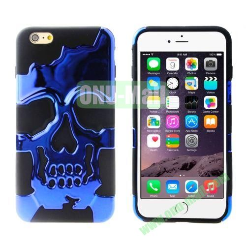Hot Sale Skeleton Design 2 in 1 Pattern Hybrid Silicone and PC Case for iPhone 6 4.7 Inch (Blue+Black)