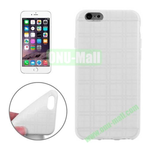 Plaid Texture Soft TPU Case for iPhone 6 Plus (White)