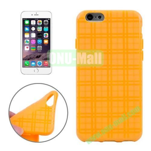 Plaid Texture Soft TPU Case for iPhone 6 Plus (Yellow)
