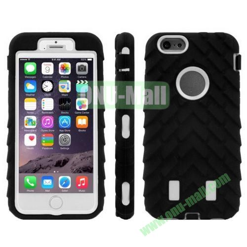 Hot Sale Antiskid Tyre Texture 3 in 1 Pattern Hybrid Silicone and PC Case for iPhone 6 (White+Black)