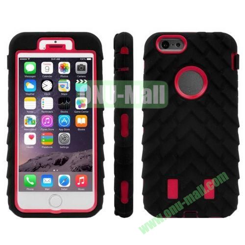 Hot Sale Antiskid Tyre Texture 3 in 1 Pattern Hybrid Silicone and PC Case for iPhone 6 (Red+Black)