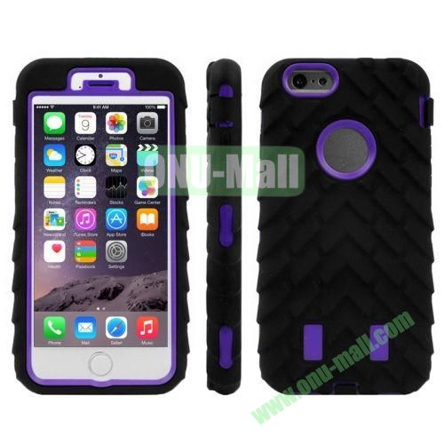Hot Sale Antiskid Tyre Texture 3 in 1 Pattern Hybrid Silicone and PC Case for iPhone 6 (Purple+Black)