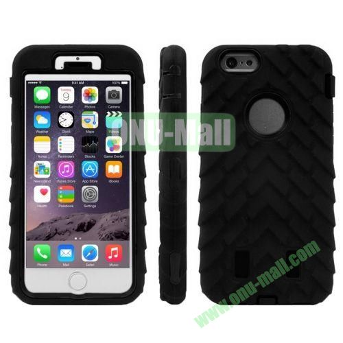 Hot Sale Antiskid Tyre Texture 3 in 1 Pattern Hybrid Silicone and PC Case for iPhone 6 (Black)