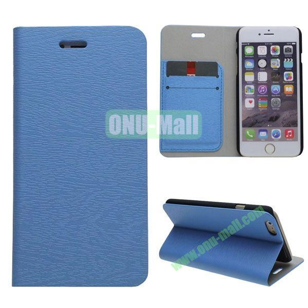 Wooden Texture Book Style Leather Case for iPhone 6 Plus with Stand (Blue)