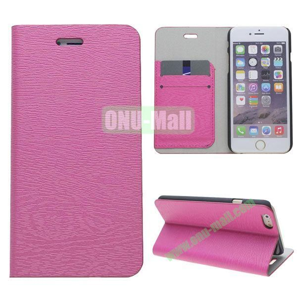 Wooden Texture Book Style Leather Case for iPhone 6 4.7 inch with Stand (Pink)