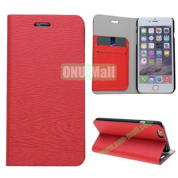 Wooden Texture Book Style Leather Case for iPhone 6 4.7 inch with Stand (Red)