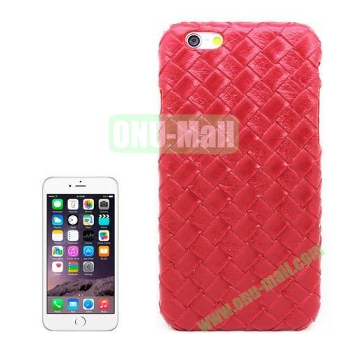 Woven Texture Paste Skin Plastic Hard Case Cover for iPhone 6 Plus (Red)