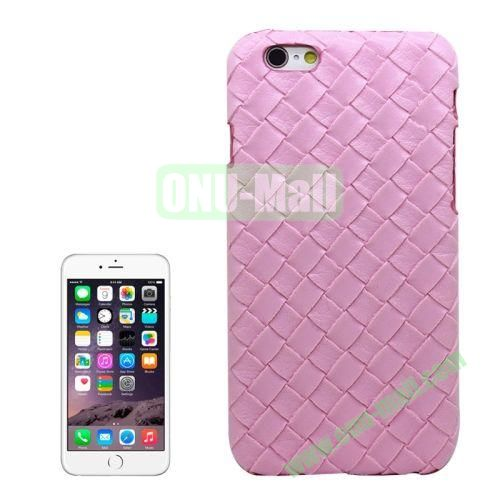 Woven Texture Paste Skin Plastic Hard Case Cover for iPhone 6 4.7 inch (Pink)