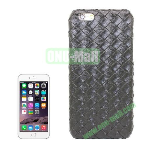 Woven Texture Paste Skin Plastic Hard Case Cover for iPhone 6 4.7 inch (Black)