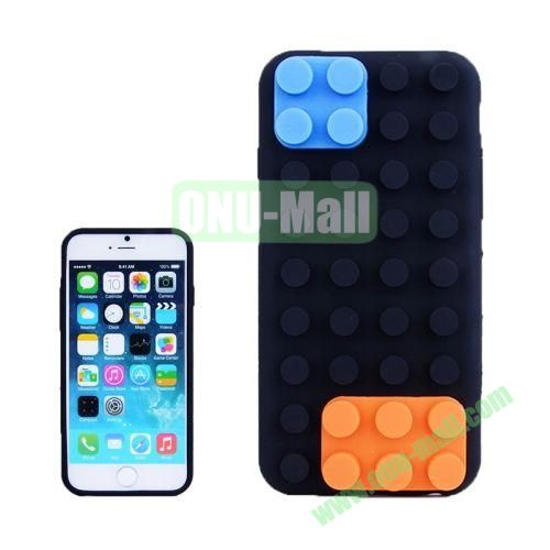 Building Block Texture Silicone case for iPhone 6 4.7 inch (Black)