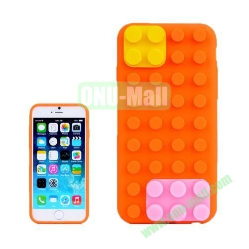Building Block Texture Silicone case for iPhone 6 4.7 inch (Orange)