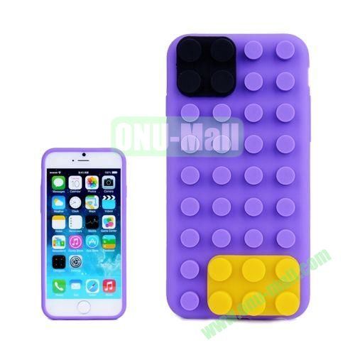 Building Block Texture Silicone case for iPhone 6 4.7 inch (Purple)