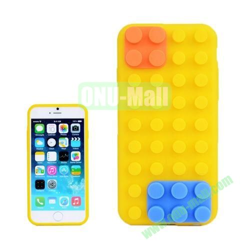 Building Block Texture Silicone case for iPhone 6 Plus (Yellow)