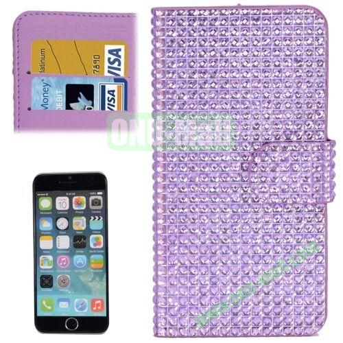 Diamond Texture Hard PC Back Cover+PU Leather Case for iPhone 6 Plus with Card Slots (Purple)