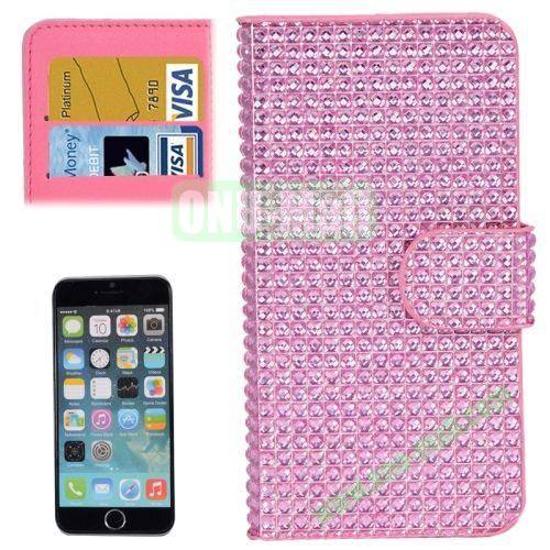 Diamond Texture Hard PC Back Cover+PU Leather Case for iPhone 6 Plus with Card Slots (Pink)