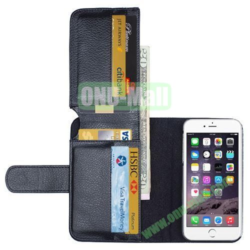 Crazy Horse Billfold Wallet Leather Case for iPhone 6 Plus (Black)