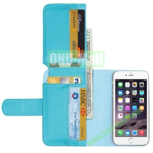 Crazy Horse Billfold Wallet Leather Case for iPhone 6 Plus (Baby Blue)