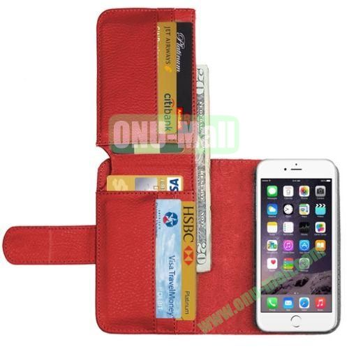 Crazy Horse Billfold Wallet Leather Case for iPhone 6 Plus (Red)