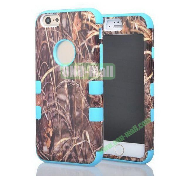 Withered Straw Pattern 3-in-1 Hybrid  Protective Combination Case for iPhone 6 Plus (Light Blue)