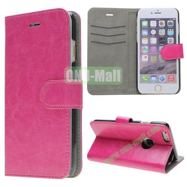 Crazy Horse Texture Leather Case for iPhone 6 with Apple Logo Hole (Rose)