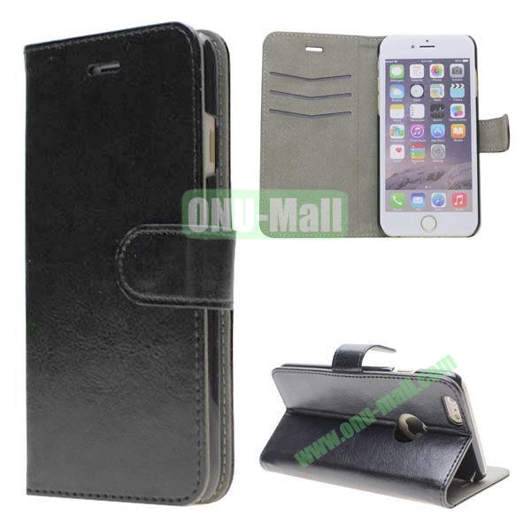 Crazy Horse Texture Leather Case for iPhone 6 with Apple Logo Hole (Black)