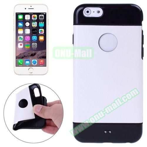 Mix Color Style Black Shell TPU Case for iPhone 6 Plus with Apple Logo Hole (White)